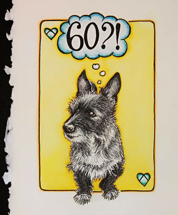 dog, dog years, wedding anniversary, card, diamond wedding anniversary, handmade, gift, greetings card, congratulations, pet portrait, dog portrait, heart, diamond, pen and watercolour, watercolor, painting, drawing, bespoke, illustration, terrier