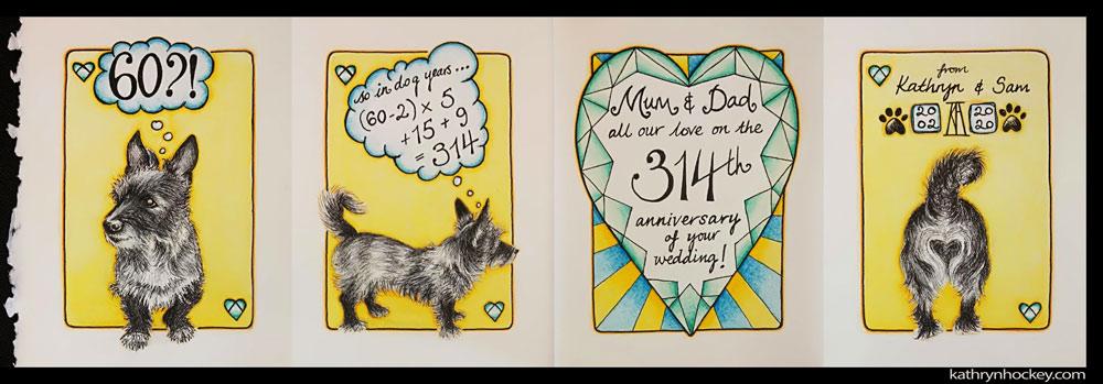 dog, dog years, wedding anniversary, card, diamond wedding anniversary, handmade, gift, greetings card, congratulations, pet portrait, dog portrait, heart, diamond, pen and watercolour, watercolor, painting, drawing, bespoke, illustration, terrier