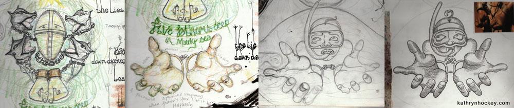 chains, slavery, diver, snorkel, drowning, deep, dark, sea, sketch book, sketch, demons, poem, illustration, mental health, black dog, the black dawg, illustrated poem, depression, hope, illustration, digital collage, kickstarter, photoshop, sketches