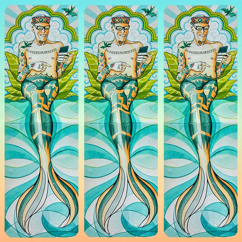 merman, fish tail, portrait, watercolor, watercolour, painting, sketchbook, tattoos, tattooed man, do not resuscitate