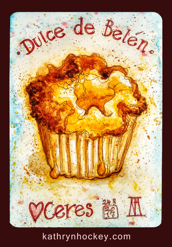 dulce de belen, cake, custard tart, ceres, vejer, vejer de la frontera,, pen and watercolour, watercolour, water color, acuarela, sketch, food, illustration