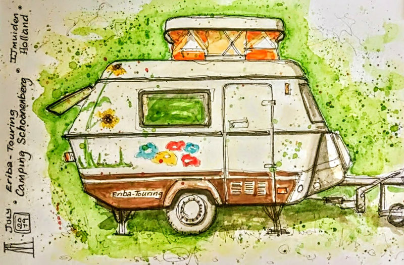 eriba touring, caravan, retro, retro caravan, camping, pen and wash, watercolour, watercolor, painting, sketch, sketchbook, art