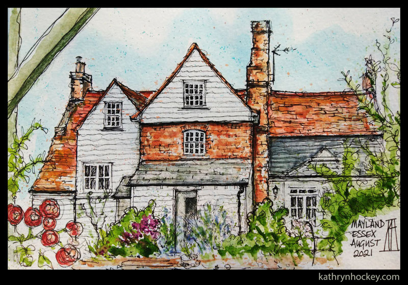 farmhouse, essex, countryside, english, country garden, weatherboard, red brick, listed building, flowers, pen and wash, watercolour, drawing, painting, sketching, sketchbook, illustration