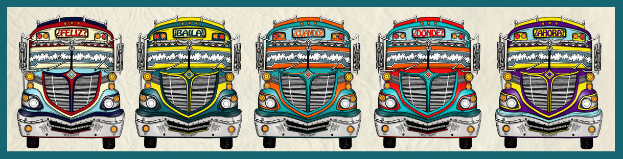 chicken bus, illustration, pencil, drawing, digital illustration, feliz, baila, cuando, donde, ahora