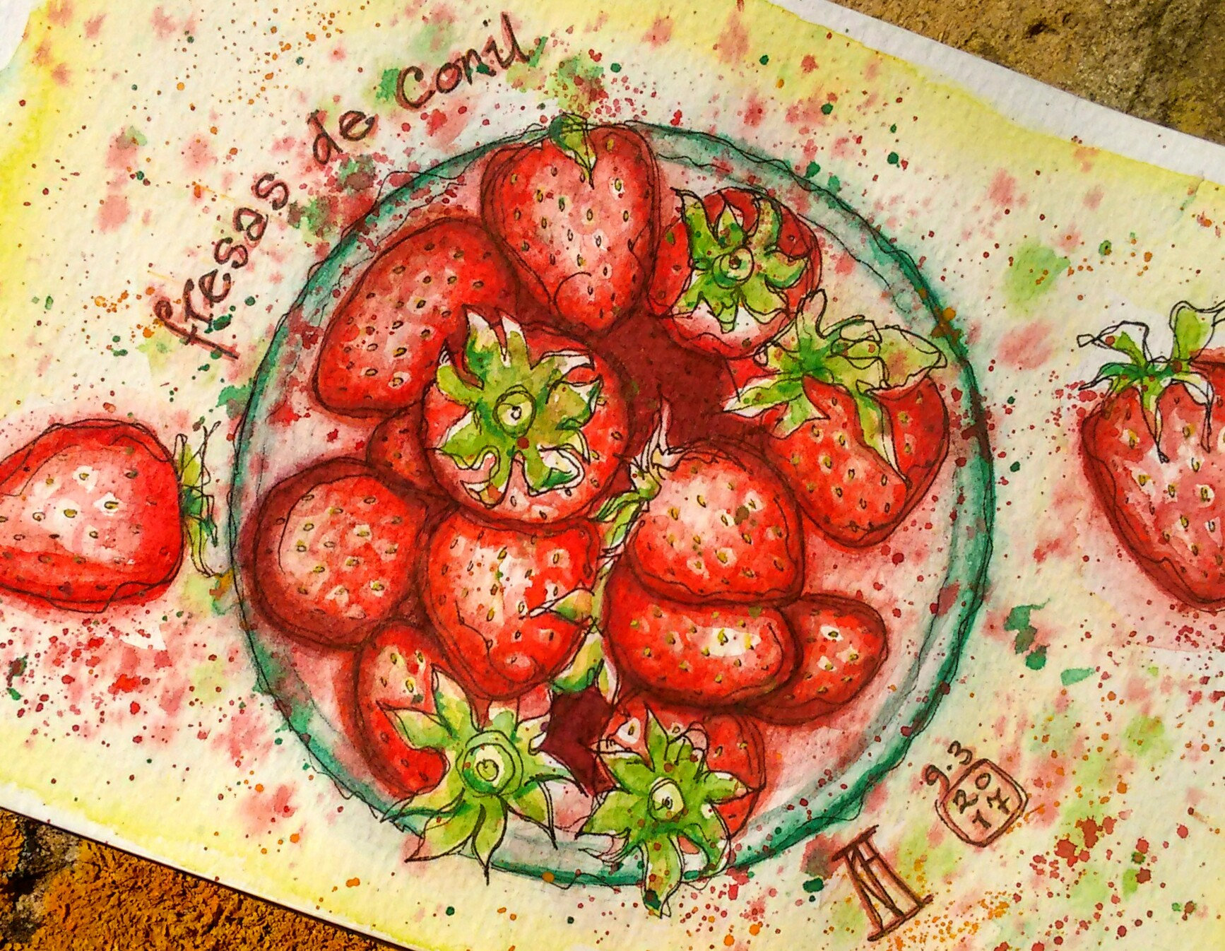 strawberries, strawberry, fruit, fresa, fresas, conil, fruta, pen and watercolour, watercolour, water color, sketch, food, illustration, ilustracion, primavera, spring