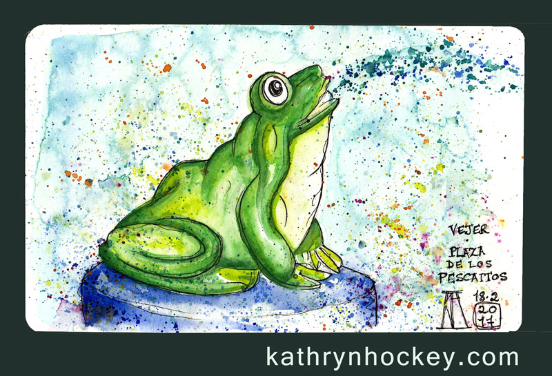 frog, fountain, plaza de espana, vejer, vejer de la frontera, vejer sketchers, pen and watercolour, watercolour, water color, acuarela, sketch, illustration