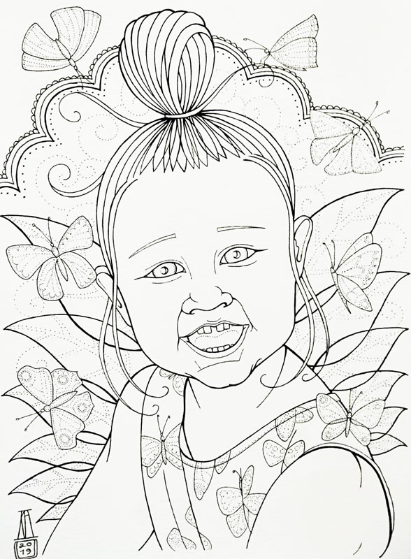 portrait, cartoon, girl, outline, drawing, black and white