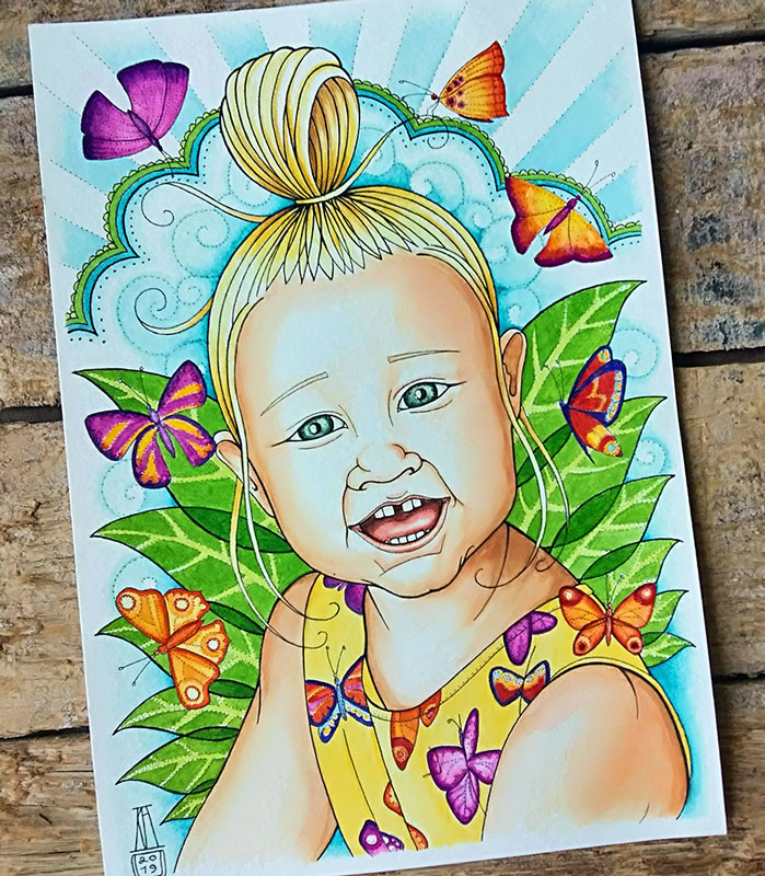 laughing, girl, butterflies, pen and wash, watercolour, watercolor, portrait, cartoon, drawing, painting