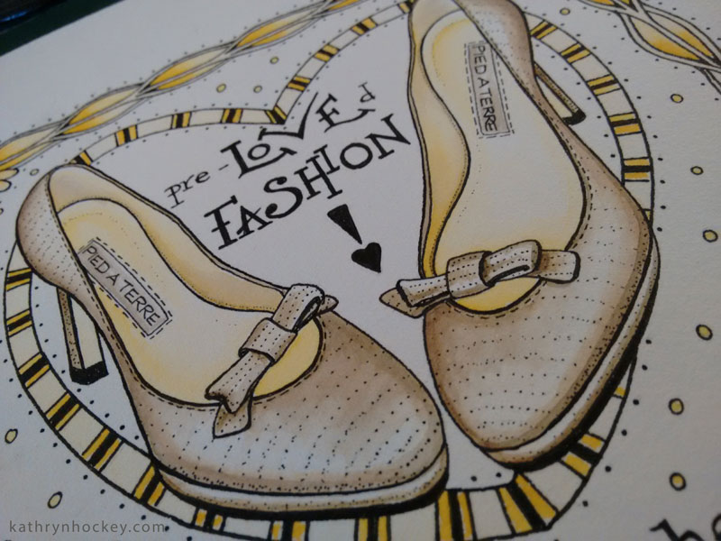 pencil, pied a terre, shoes, fashion, high heels, leather, head over heels, mary's living and giving, save the children, charity, shop, designer, drawing, watercolour, watercolor, painting, illustration, charity, bermondsey, london, ethical, sustainable, reuse, recycle, donate, volunteer