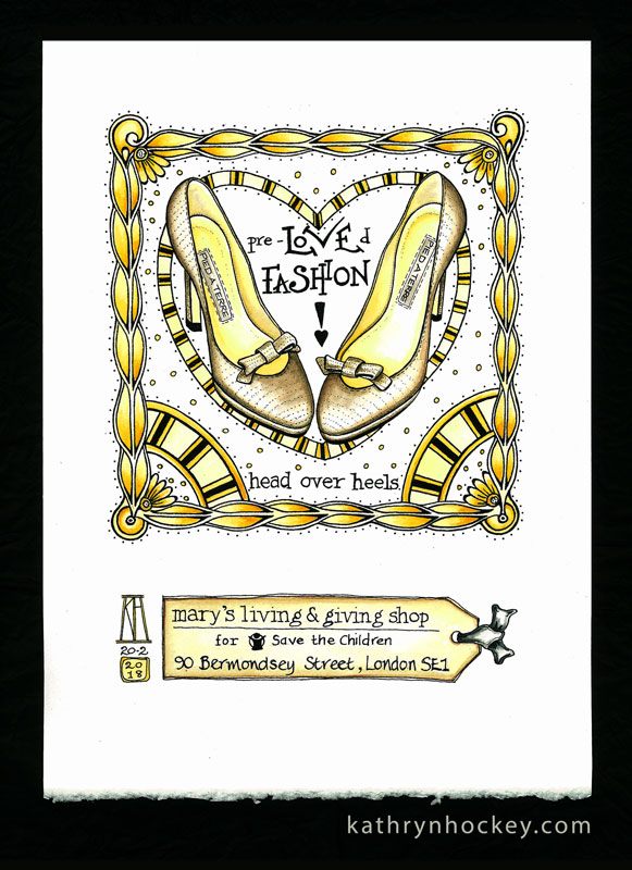 pied a terre, shoes, fashion, high heels, leather, head over heels, mary's living and giving, save the children, charity, shop, designer, drawing, watercolour, watercolor, painting, illustration, charity, bermondsey, london, ethical, sustainable, reuse, recycle, donate, volunteer