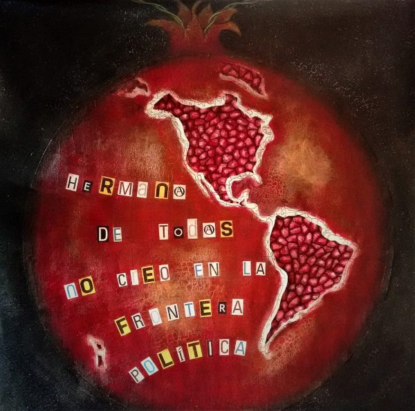 lorca, tribute, homage, granada, pomegranate, mixed media, collage, map, charcoal, acrylic paint, crackle glaze, betun stain, fairy light, arte vejer