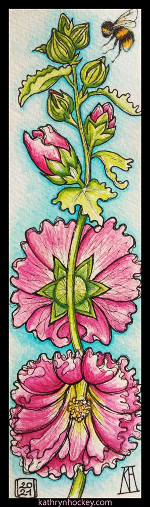 hollyhock, flowers, homegrown, homemade, pink, bookmark, gift, pen and wash, watercolour, painting, drawing, illustration