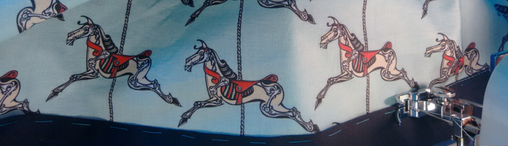 horse, sketelon, carousel, roundabout, merry-go-round, cotton, fabric, surface design, illustration, textile design, woven monkey, bias binding, dress making, shift, dress, sewing, homemade