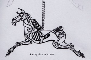 horse, sketelon, carousel, roundabout, merry-go-round, cotton, fabric, surface design, illustration, textile design, woven monkey, bias binding, dress making, shift, dress, sewing, homemade, skeleton, day of the dead, halloween, horse, carousel, fair ground, roundabout, pencil drawing