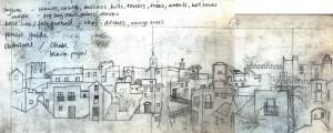 preparatory sketch, vejer de la frontera, townscape