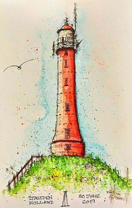 pen and wash, watercolour, watercolor, sketch, sketchbook, art, lighthouse, IJmuiden, Holland