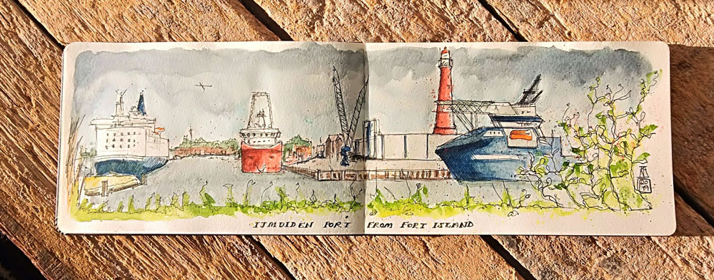 pen and wash, watercolour, watercolor, sketch, sketchbook, art, port, harbour, boats, ferries, docks, lighthouse, IJmuiden, Forteiland, Holland
