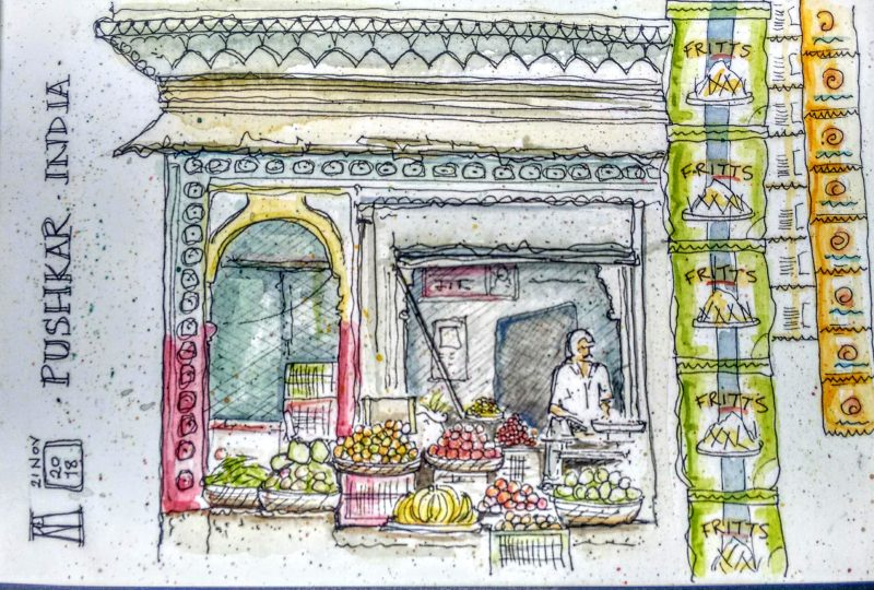 fruit, vegetables, greengrocer, market, stall, pushkar, rajasthan, india, pen and wash, drawing, sketch, sketching, painting, watercolour, watercolor, travel, illustration, street painting, travel blog
