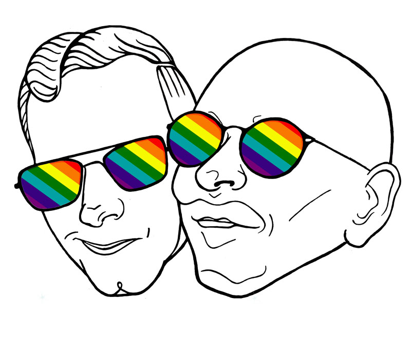 wedding, card, portrait, couple, gay, marriage, greetings card, congratulations, rainbow, joint portrait, couple, happy couple, wedding day, celebration, nuptuals, digital, illustration, pencil, drawing, outline, photoshop, layers, highlights, sunglasses