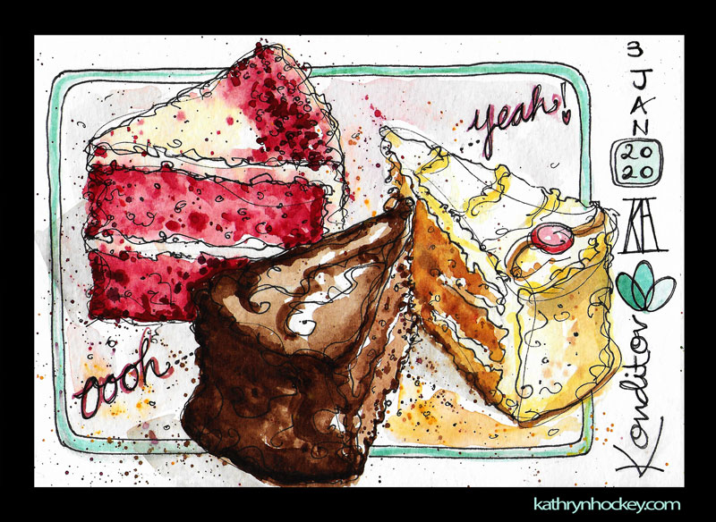 cake, konditor, too good to go, fight food waste, red velvet, chocolate, watercolour, painting, sketchbook, pen and wash, food illustration, illustration, drawing