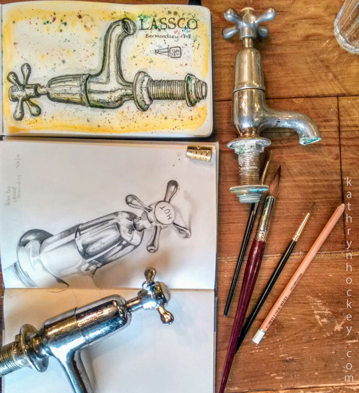 salvage, tap, faucet, lassco, london, rope walk, maltby street, bermondsey,, pen and watercolour, watercolour, water color, acuarela, sketch, illustration