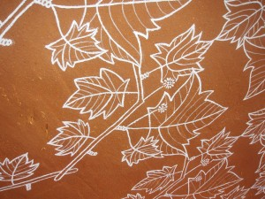leaves, plane tree, mural, emulsion paint, mud wall, surface decoration, illustration, pattern