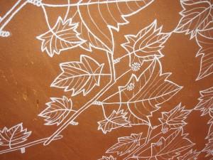 leaves, plane tree, mural, emulsion paint, mud wall, surface decoration, illustration, pattern