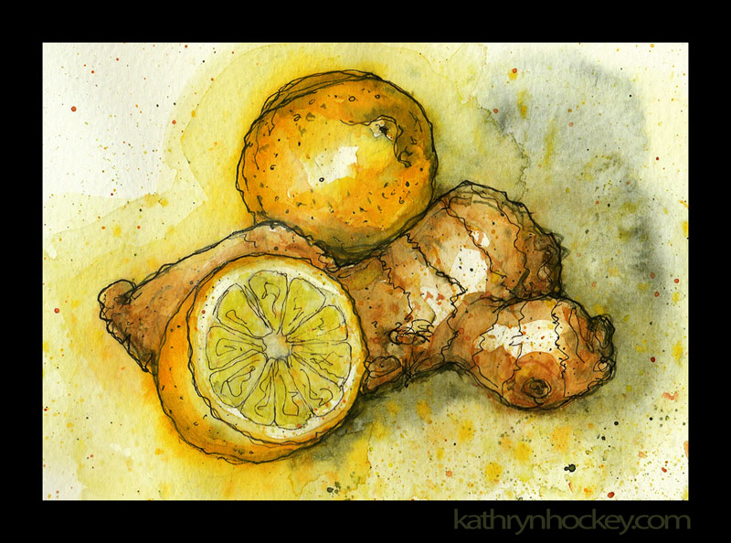 lemon, ginger, cold cure, fruit, food, drawing, water colour, sketch, pen and watercolour, juicy