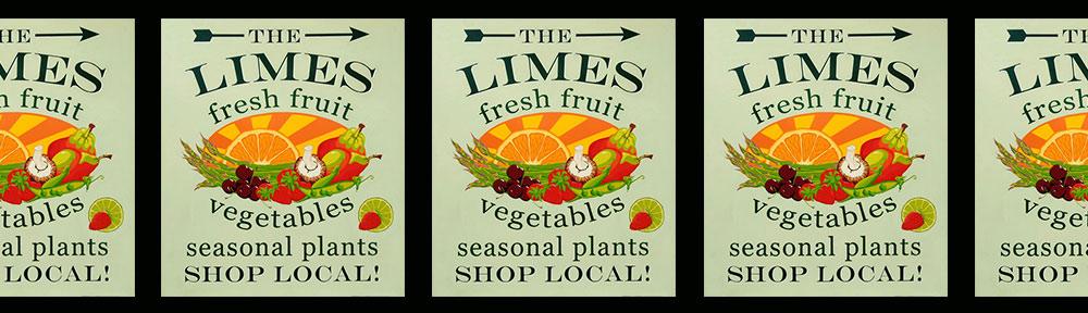 sign, sign painting, sign writing, hand painted, illustration, fruit, vegetables, one shot enamel, shop local, burnham on crouch, essex, fresh, sun burst, asparagus, cherries, peas, strawberries, lime, mushroom, pears, advertising, promotion