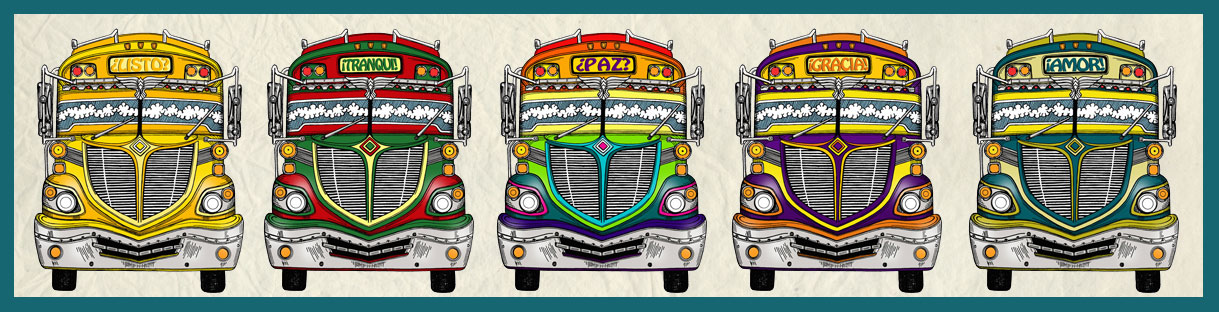 chicken bus, illustration, pencil, drawing, digital illustration, listo, tranqui, paz, gracia, amor