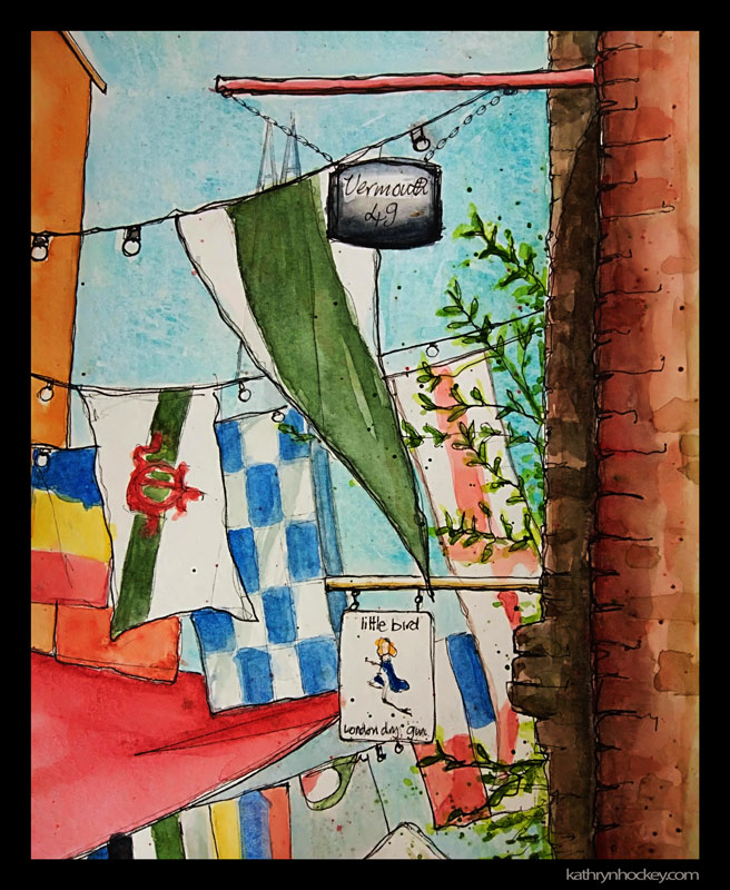 maltby street market, food market, street market, bermondsey, london, flags, tozino, little bird gin, vermouth 49, pen and wash, watercolour, watercolor, sketchbook, urban sketcher, urban sketching, drawing, painting, sketching, flags, the shard, landscape, illustration