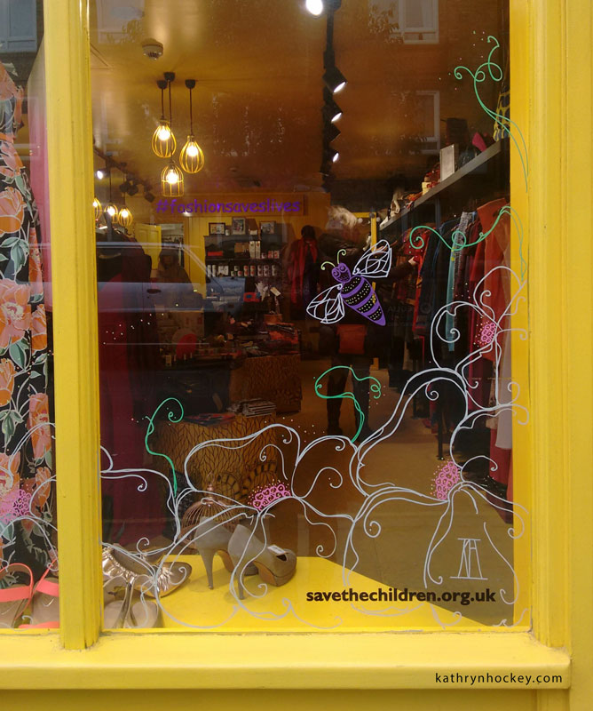 bermondsey street, marys living and giving shop, save the children, ethical fashion, volunteer, window, design, springtime, birds, swallows, bluebirds, bees, flowers, here comes the sun, illustration, glass, chalk, pens, drawing, design, london, donate, reuse, recycle