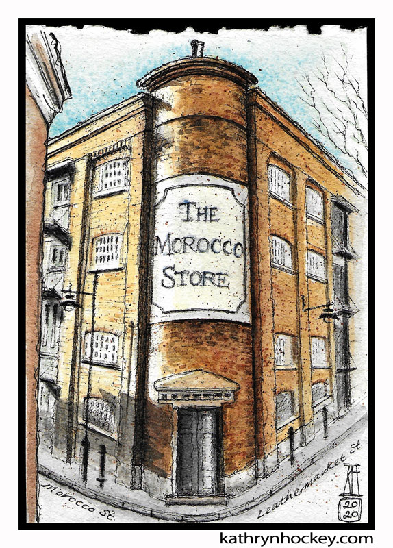 illustration,, brooklyn art library, the sketchbook project, sketchbook, pen and wash, watercolour, watercolor, painting, drawing, urban landscape, urban sketching, corona virus lockdown 2020, bermondsey, london, se1, se16,, bermondsey street, leathermarket, morocco store, warehouse