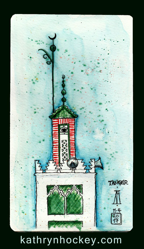 morocco, marruecos, mosque, tanger, tangiers, pen and watercolour, watercolour, water color, acuarela, sketch, travel, illustration