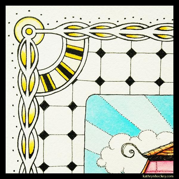 mrs salisbury's, afternoon tea, cake, sandwiches, tea time, vol-au-vent, cup of tea, tea pot, maldon, brights path, restaurant, food illustration, pen and wash, watercolour painting, drawing, border, detail