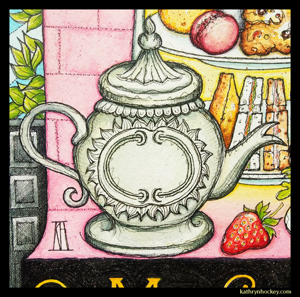 mrs salisbury's, afternoon tea, tea time, strawberry, tea pot, maldon, brights path, restaurant, food illustration, pen and wash, watercolour painting, drawing