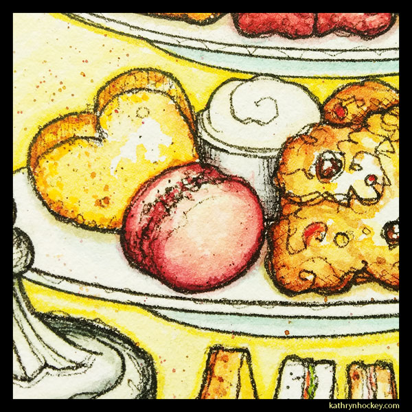 mrs salisbury's, afternoon tea, macaron, tea time, cup of tea, tea pot, maldon, brights path, restaurant, food illustration, pen and wash, watercolour painting, drawing, heart cookie, scone, clotted cream