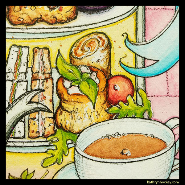 mrs salisbury's, afternoon tea, tea time, vol-au-vent, maldon, brights path, restaurant, food illustration, pen and wash, watercolour painting, drawing, cup of tea, sandwiches
