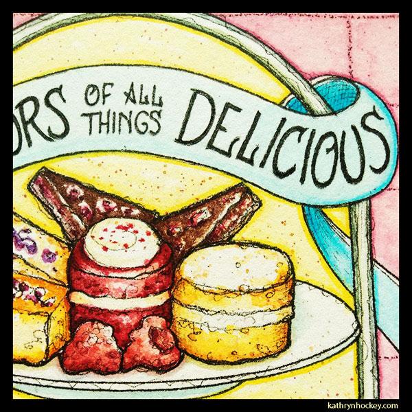 mrs salisbury's, afternoon tea, cake, sandwiches, tea time, vol-au-vent, cup of tea, tea pot, maldon, brights path, restaurant, food illustration, pen and wash, watercolour painting, drawing, red velvet cake, victoria sponge, chocolate cake, detail