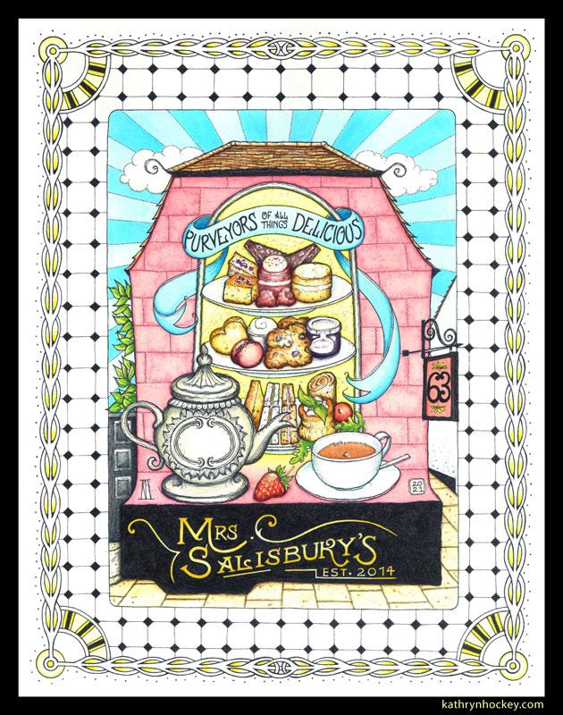 mrs salisbury, afternoon tea, cake, sandwiches, tea time, vol-au-vent, cup of tea, tea pot, maldon, brights path, restaurant, food illustration, pen and wash, watercolour painting, drawing