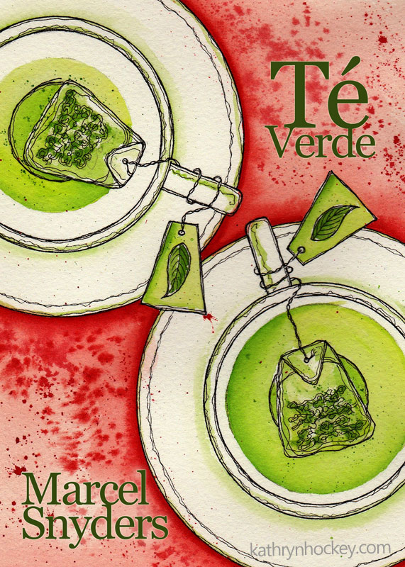 green tea, té verde, book cover, portada, play, comedy, tragicomedy, marcel snyders, playwright, hospice, mother, daughter, illustration, cover design, art, drawing, watercolour, watercolor, acuarela, painting, pintura, ilustración, tea bag, cup, saucer