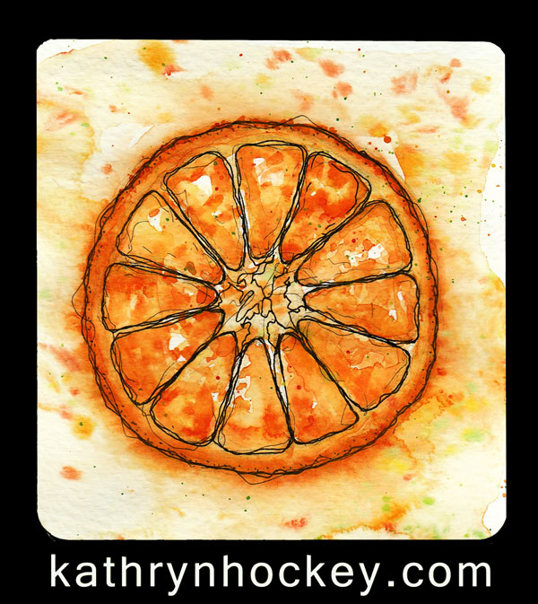 orange, fruit, food, vegetable, drawing, water colour, sketch, pen and watercolour