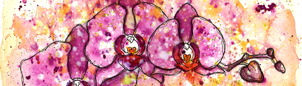 orchid, orchids, flowers, pen and watercolour, watercolour, water color, acuarela, sketch, illustration