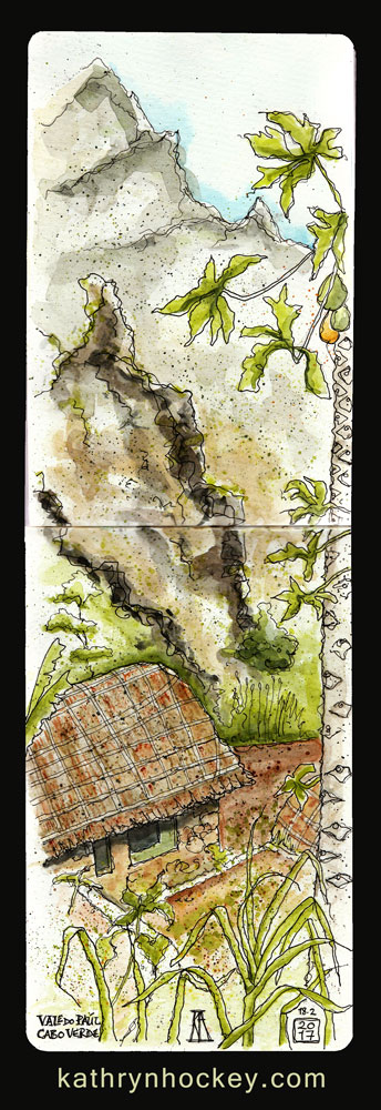 o curral,, paul valley, santo antao, cape verde, cabo verde, africa, water color. pen and watercolour, sketch, travel, illustration