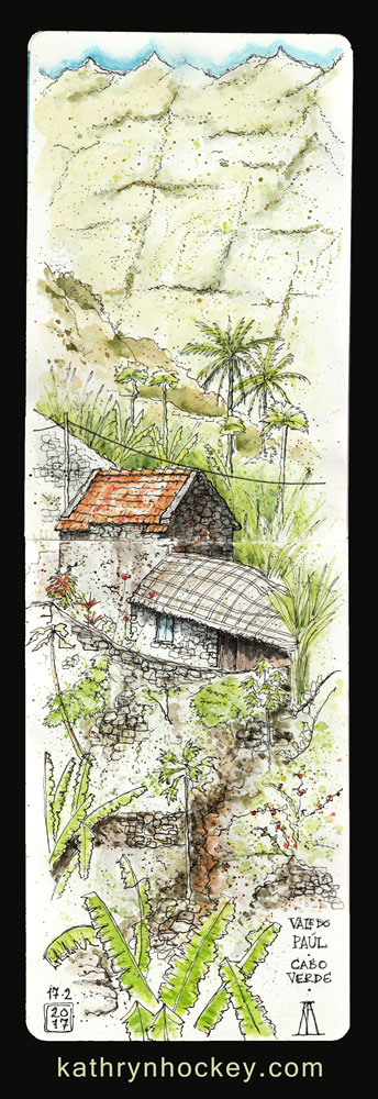 paul valley, santo antao, cape verde, cabo verde, africa, water color. pen and watercolour, sketch, travel, illustration,