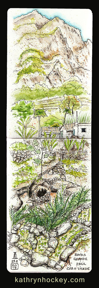 roche grande, paul valley, santo antao, cape verde, cabo verde, africa, water color. pen and watercolour, sketch, travel, illustration