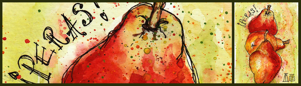 pear, pera, pears, fruit, food, drawing, water colour, sketch, pen and watercolour, juicy
