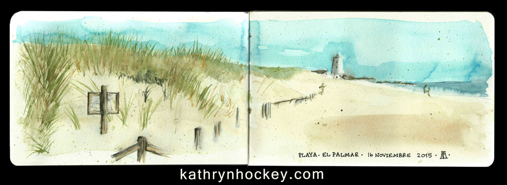 beach, sand dunes, playa, el palmar, andalucia, vejer de la frontera,, watercolour, watercolor, sketch, drawing