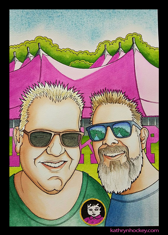 illustration, double portrait, pen and wash, watercolour, watercolor, portrait, cartoon, man, pinkpop, festival, drawing, painting