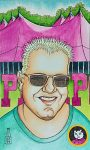 pen and wash, watercolour, watercolor,portrait, cartoon, man, pinkpop, festival, drawing, painting
